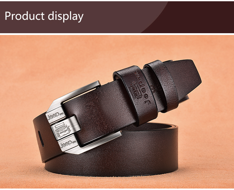 Hb97a8e0cb3154f45aa161e795cb4417ff - JIFANPAUL Men's genuine leather luxury brand belt high quality alloy pin buckle men's business retro youth with jeans new belt