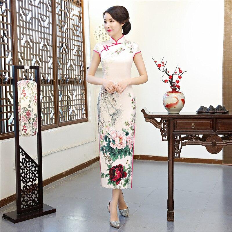 Open Rain 2019 Autumn And Winter New Style Catwalks Long Cheongsam Light Pink Flower Debutante Wind Debutante-Style Cheongsam