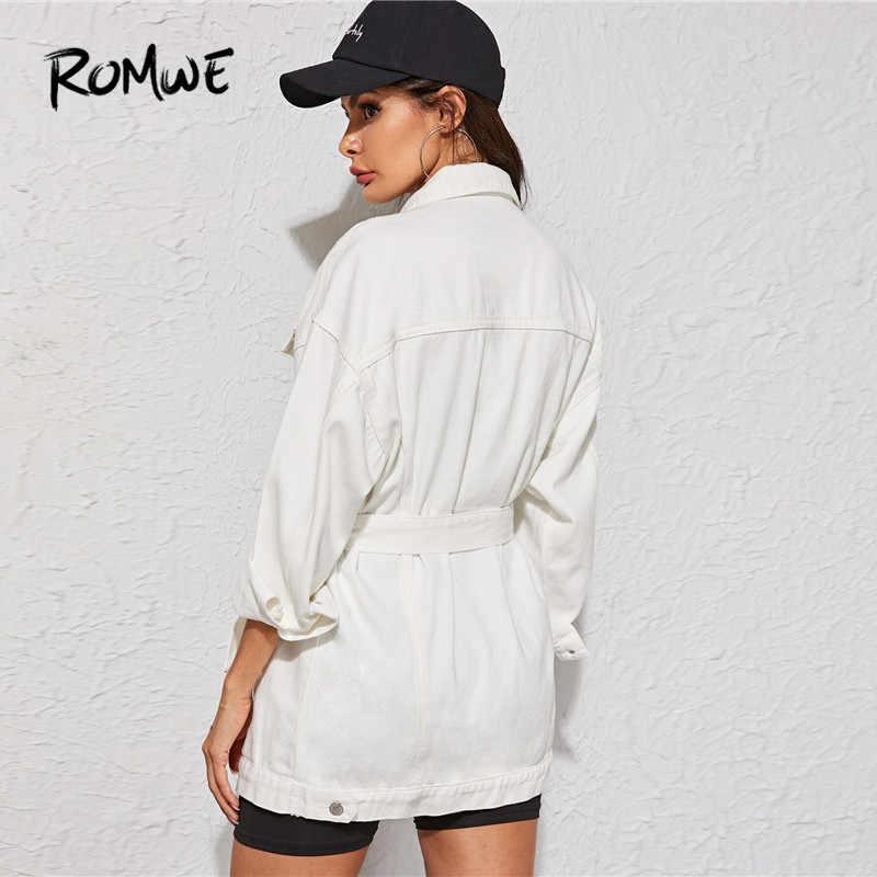 ROMWE Weiß Waschen Belted Longline Jean Jacke Mantel Frauen Herbst Frühling Solide Boylish Streetwear Langarm Denim Lange Jacke Top