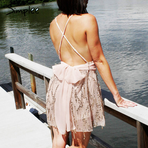 Image 5 - Simplee derin v yaka payetli seksi örgü kadın tulum zarif Backless astar bayanlar kısa tulum yüksek bel püskül tulum