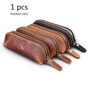 Image 1 - Bolsa de lápices de cuero genuino hecha a mano, estilo Retro Vintage, de piel de vaca, con cremallera, estuche de bolígrafo, bolso escolar, papelería de oficina, 1 unidad