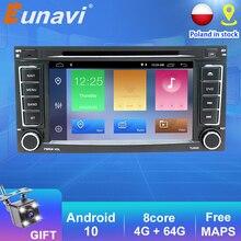 Eunavi 2 Din Android 10 Car DVD Player GPS For VW/Volkswagen/Touareg/Transporter T5 2004 2011 Car Multimedia Radio 8 Core DSP BT