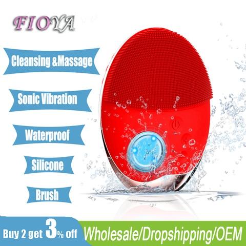 beleza silicone escova de limpeza facial sem fio eletrica vibracao macia massageador rosto cuidados com