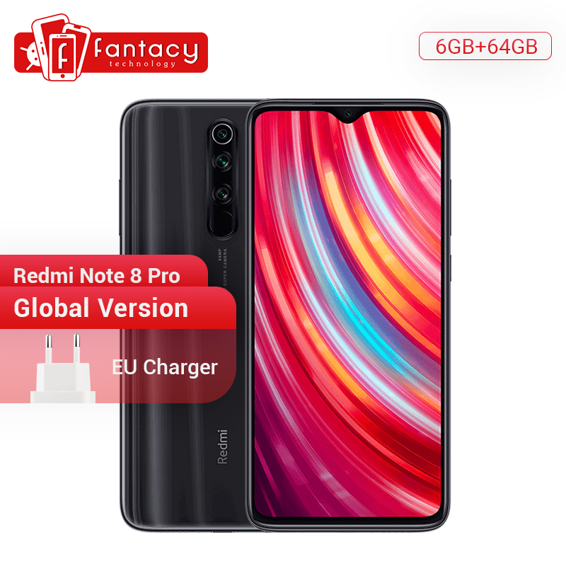 Global Version Xiaomi Redmi Note 8 Pro 6GB RAM 64GB ROM 64MP Quad Cameras MTK Helio G90T Smartphone 4500mAh 18W QC 3.0 UFS 2.1