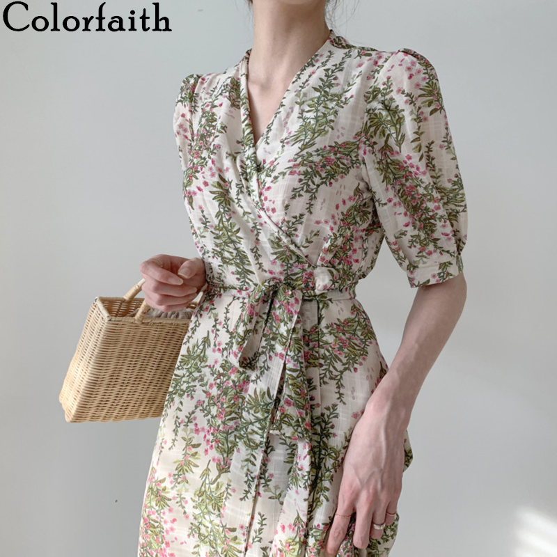 Colorfaith New 2020 Summer Women's Dresses Casual High Waist V-Neck Puff Sleeve Lace Up Floral Vintage Chiffon Long Dress DR1131