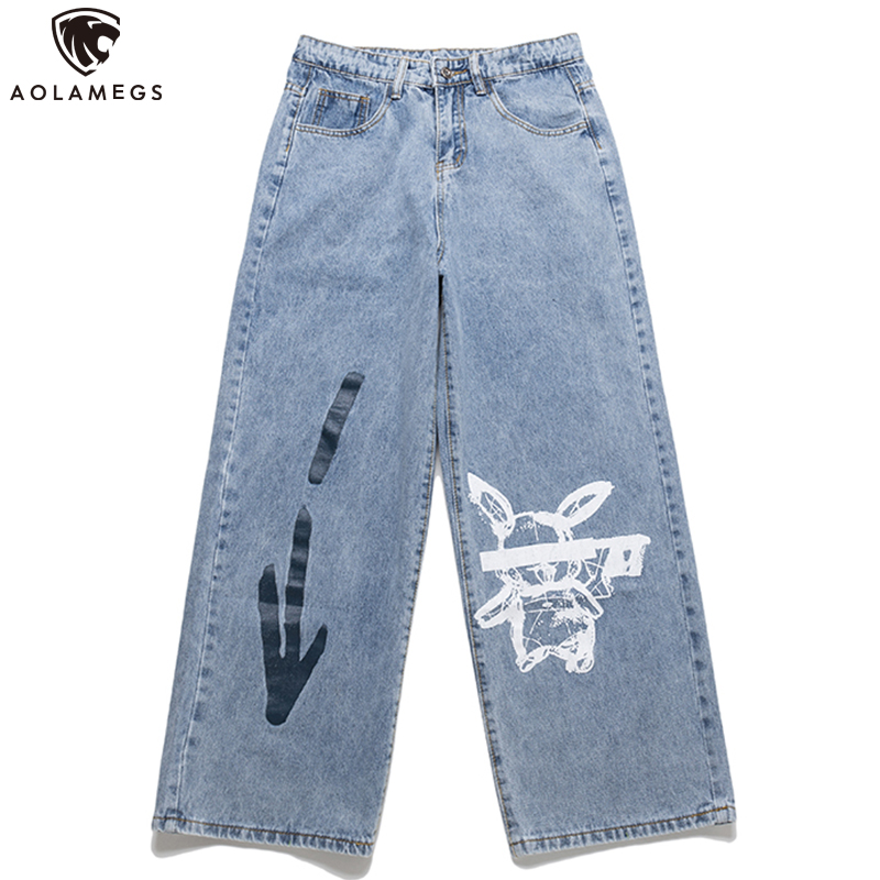 Aolamegs Jeans Men Cool Graffiti Print Denim Pants Solid Color Fashion Retro Baggy Hip Hop Style Jeans High Street Casual Pant