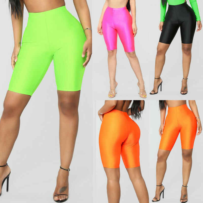Hohe Taille Sport Shorts Frauen Biker Shorts Sommer Dünne Fitness Solide Bodycon Cycling Bottoms