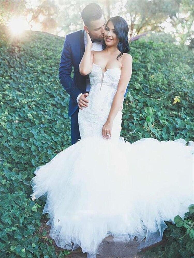Sirène dentelle fantaisie Tulle robes de mariée Sexy chérie cou 2020 printemps balayage Train robes de mariée personnaliser grande taille
