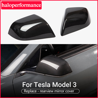 Model3-cubierta de espejo lateral de coche, accesorios para Tesla modelo 3 2021, fibra de carbono ABS, tres retrovisores