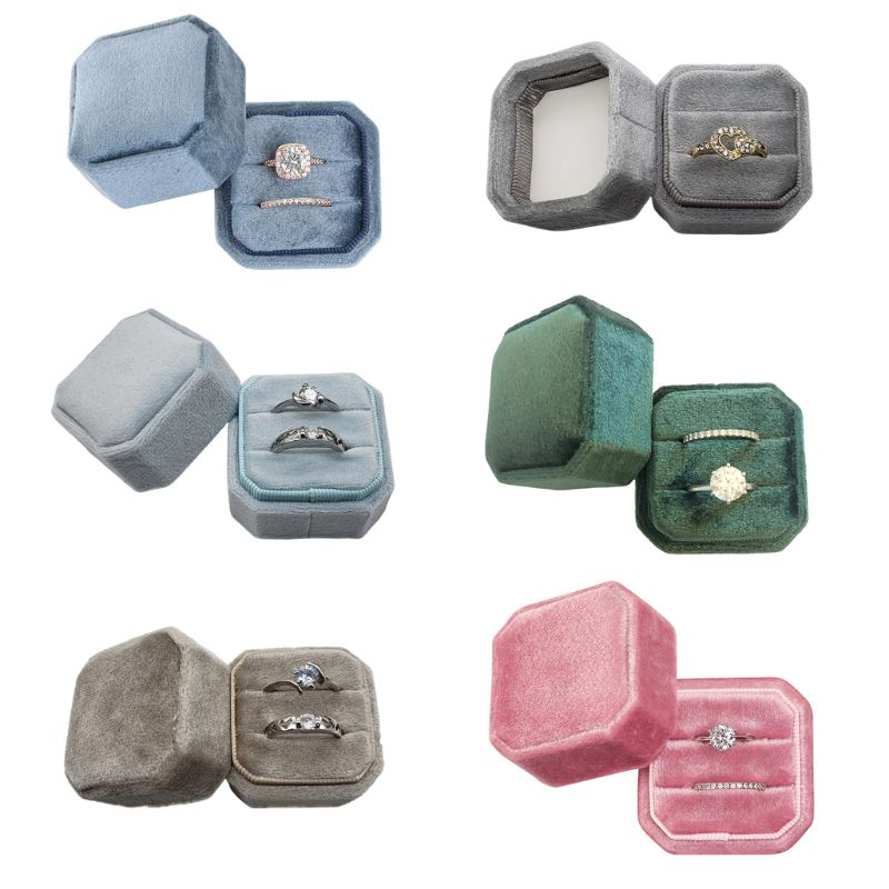 Velvet Double Ring Box Octagon Wedding Ceremony Ring Box With Detachable Lid