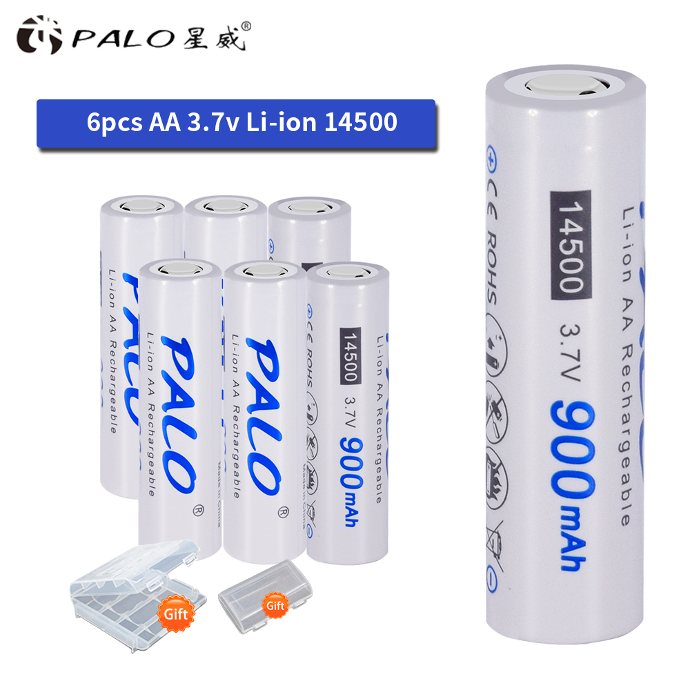 PALO Super High Quality Original <font><b>14500</b></font> Battery 3.7V <font><b>Li</b></font>-<font><b>ion</b></font> Rechargeable Battery for LED Flashlight Headlamps Toys Top Head image