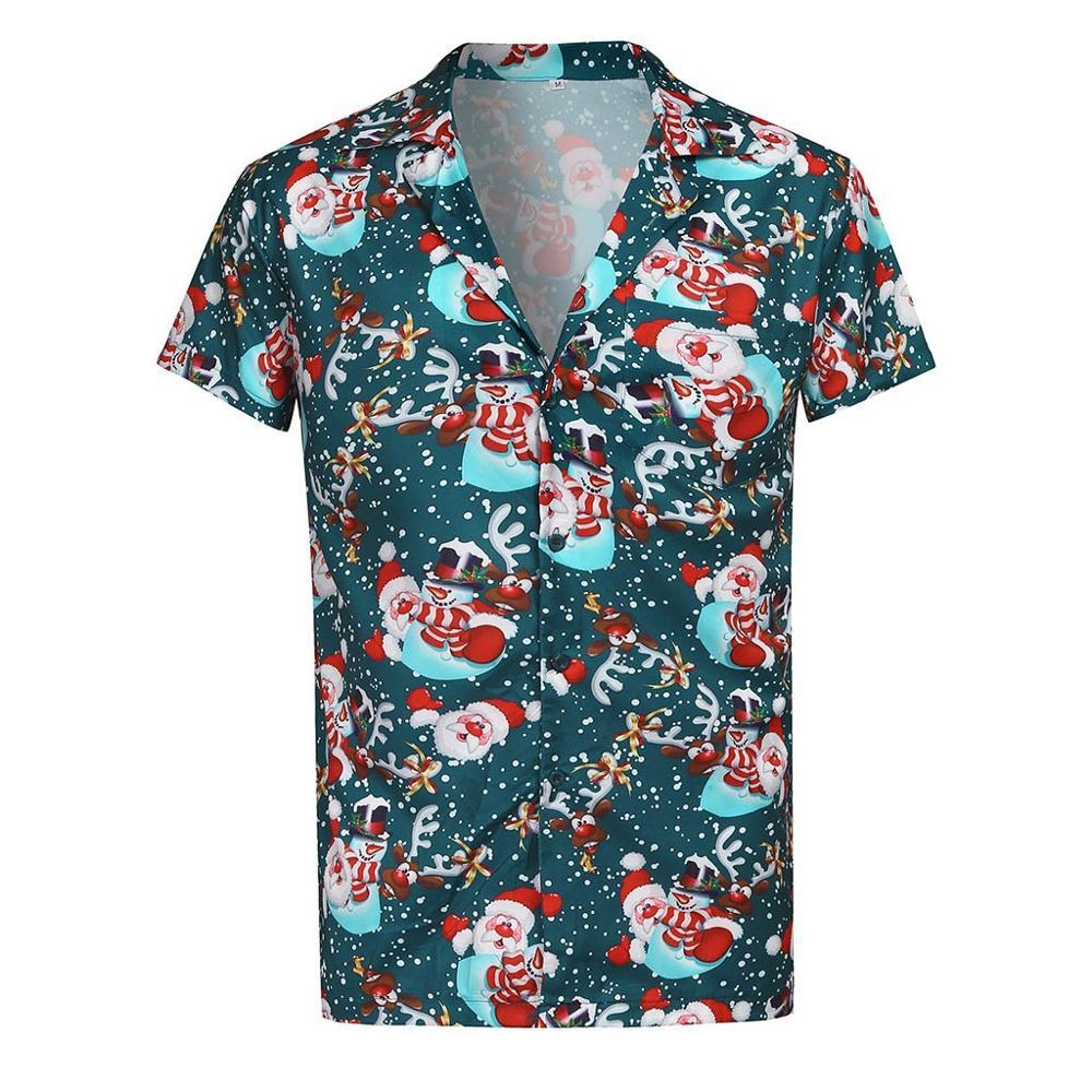 Christmas Men Causal Short Sleeve Shirt Santa Claus Printing Thin Tops Shirts Men Dress Hawaiian Plus Size Camisas Hombre 2XL