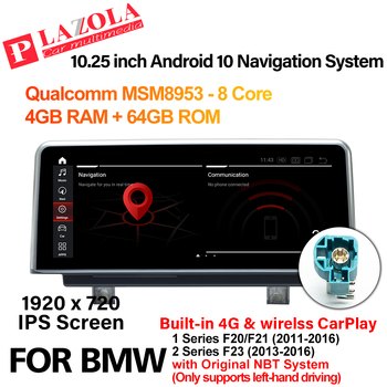Android 10 Car Multimedia Player 10.25 For BMW 1 Series F20 F21 2 Series F23 2013-2016 NBT Navigation GPS CarPlay BT Car Radio image