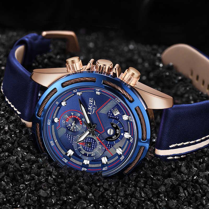 LIGE montre hommes mode Sport Quartz horloge en cuir hommes montres haut marque de luxe bleu étanche montre d'affaires Relogio Masculino