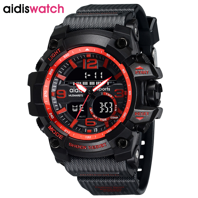AIDIS Luxury Top Brand Sport Calendar Week Display Watch Waterproof Military LED Digital Electronic Children Wristwatch Relogio
