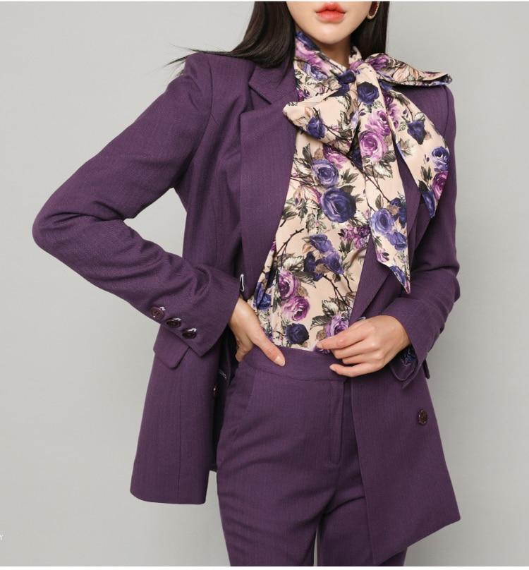 Summer Spring Formal Fashion Business Uniform Women Pant Suits 2 Piece Set Slim Blazer Jacket Office Lady Business Suit