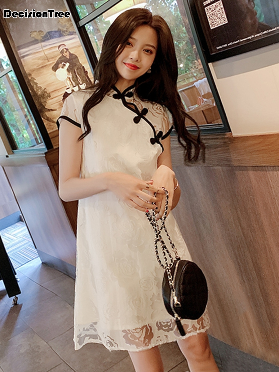 2020 Girls White Hollow Carved Lace Dress Chinese Style Princess Dresses Qipao Traditional Embroidery Party Wedding Dress