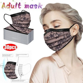 10/20/30 Pcs Mouth Masks 3-layer Anti-Dust Fashion Lace Floral Mascarillas Protection Non Woven Masks Elastic Ear Loop Face Mask