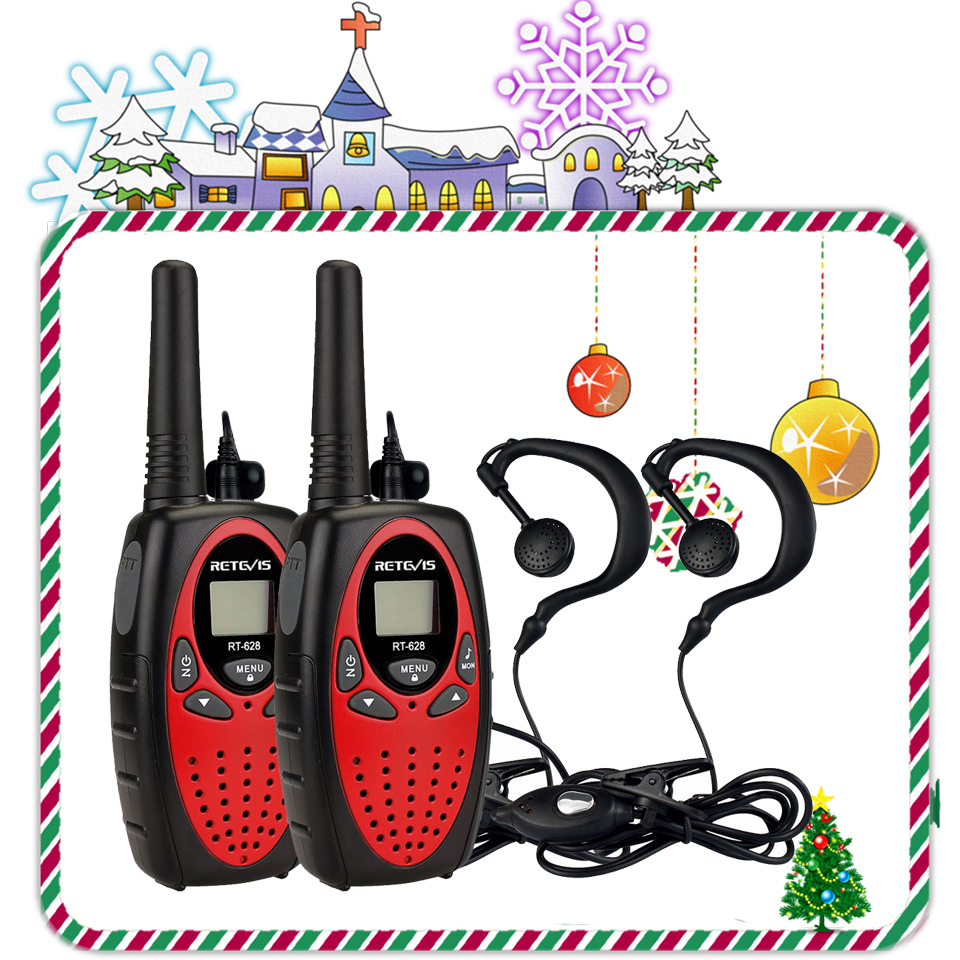 2pcs 4Colors Retevis RT628 Mini Walkie-Talkie For Kids+2pcs 1Pin Headset 0.5W PMR FRS Children's Two Way Radio Walkie Talkie Set