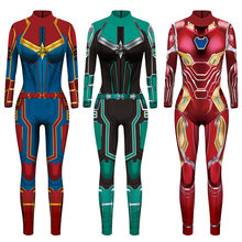 VIP Fashion 2020 Baru Ainme 3D Super Hero Captain Marvel Kostum Halloween Karnaval Kostum untuk Wanita Plus Ukuran(China)