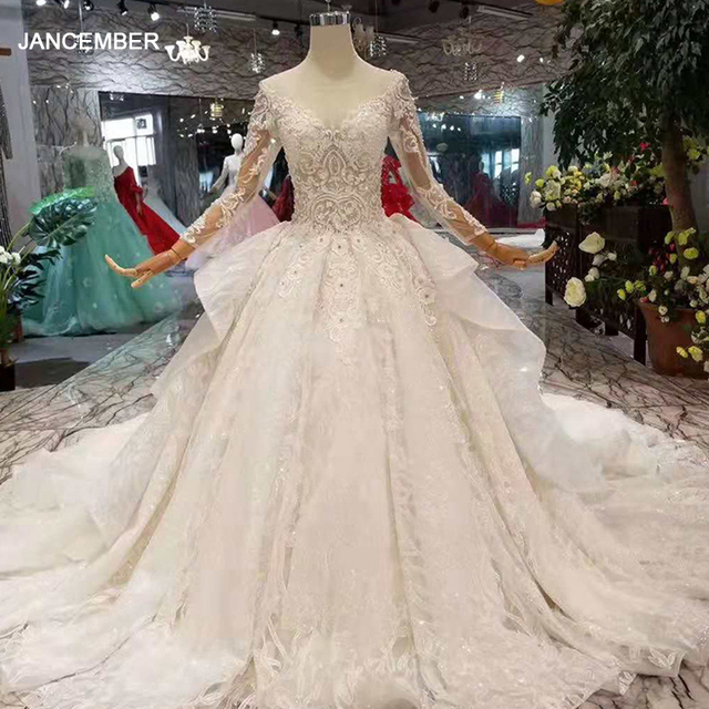 LS11016 new design wedding dresses 2020 illusion o neck long tulle sleeve big bow wedding gown with shiny train china wholesale