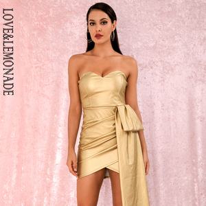 Image 2 - LOVE&LEMONADE Sexy Gold Bandeau V Neck Double Streamers Cross PU Material Mini Party Dress LM82017