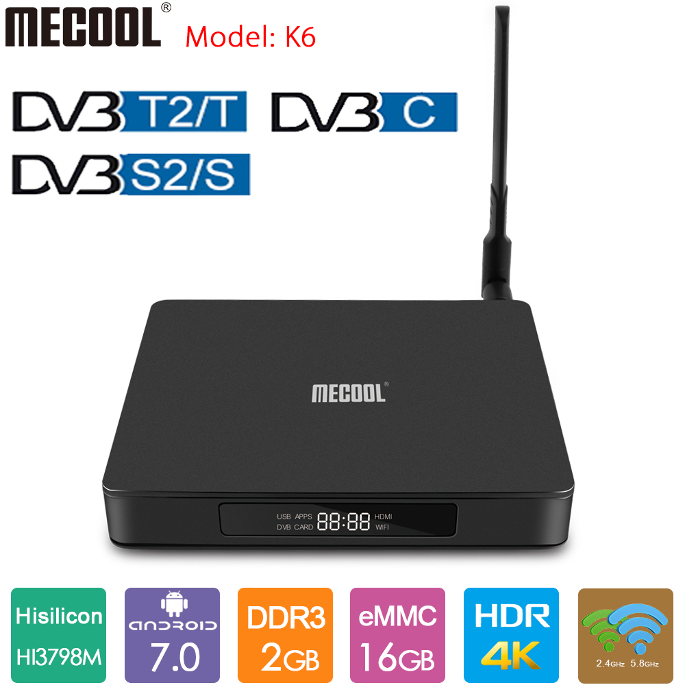 MECOOL K6 TV <font><b>Box</b></font> DVB-<font><b>T2</b></font> DVB-S2 <font><b>Android</b></font> 7.0 TV <font><b>Box</b></font> 2GB DDR3 16GB 2,4G 5G Dual WiFi 100M LAN 4K Set Top <font><b>Box</b></font> VP9 USB3.0 image