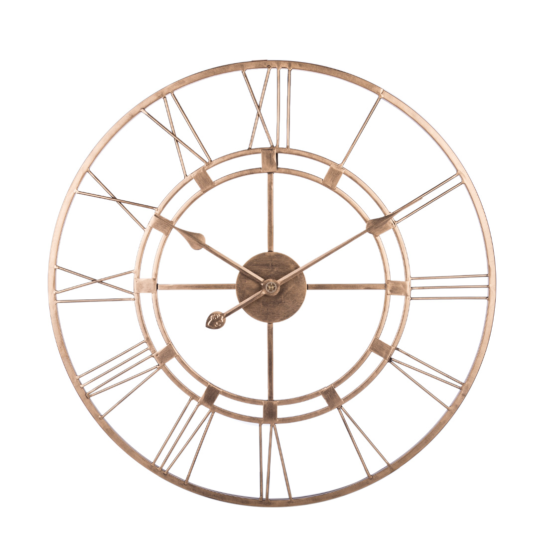 60cm 3D Iron Art Roman Numerals Clock Silent Large Wall Clock Modern Design For Home Living Room Bedroom Decoration-Retro Golden