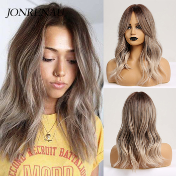 JONRENAU 16 Inches Synthetic Platinum Blonde Hair Long Natural Wave Ombre Brown Mixed Color Party Wigs for White/Black Women 1