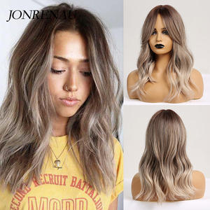 JONRENAU Party-Wigs Blonde-Hair Platinum Brown Natural-Wave Mixed-Color Synthetic 16-Inches