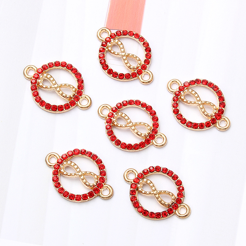 10pcs Cute Gold Red Enamel Love  Heart Crystal Animals Alloy Connector For Women Gilrs DIY Making Bracelet Jewelry Accessories