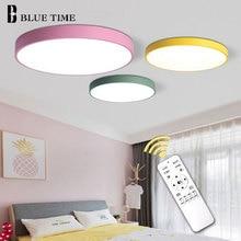 Luz de techo superdelgada de 5cm para dormitorio, sala de estar, cocina, montaje superficial, lámpara de techo de Control remoto, iluminación del hogar