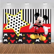 Photography Background Photocall Mickey Mouse Backdrop for Birthday Party Decorations Custom Children Newborn Birthday Photo(China)