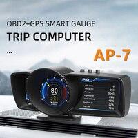 AP-7 OBD2 + GPS + HUD Auto tablero la pantalla coche-estilo de velocímetro, medidor cuentakilómetros advertencia sistema de alarma de seguridad