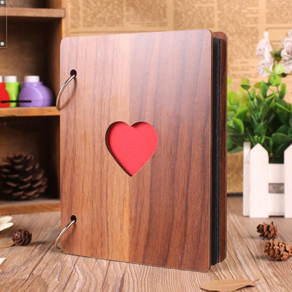 6inch Heart Pattern Wooden Photo Album Loose-leaf Baby Growth Memory Record Book Baby Growing Anniversary Family Photo Album
