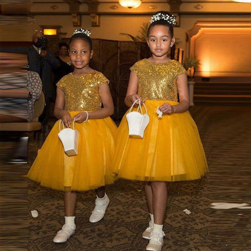 Knee Length Tulle princess Dress with Sequined Top Sleeveless Custom Made Flower Girl Dress For Special Occasion Vestidos