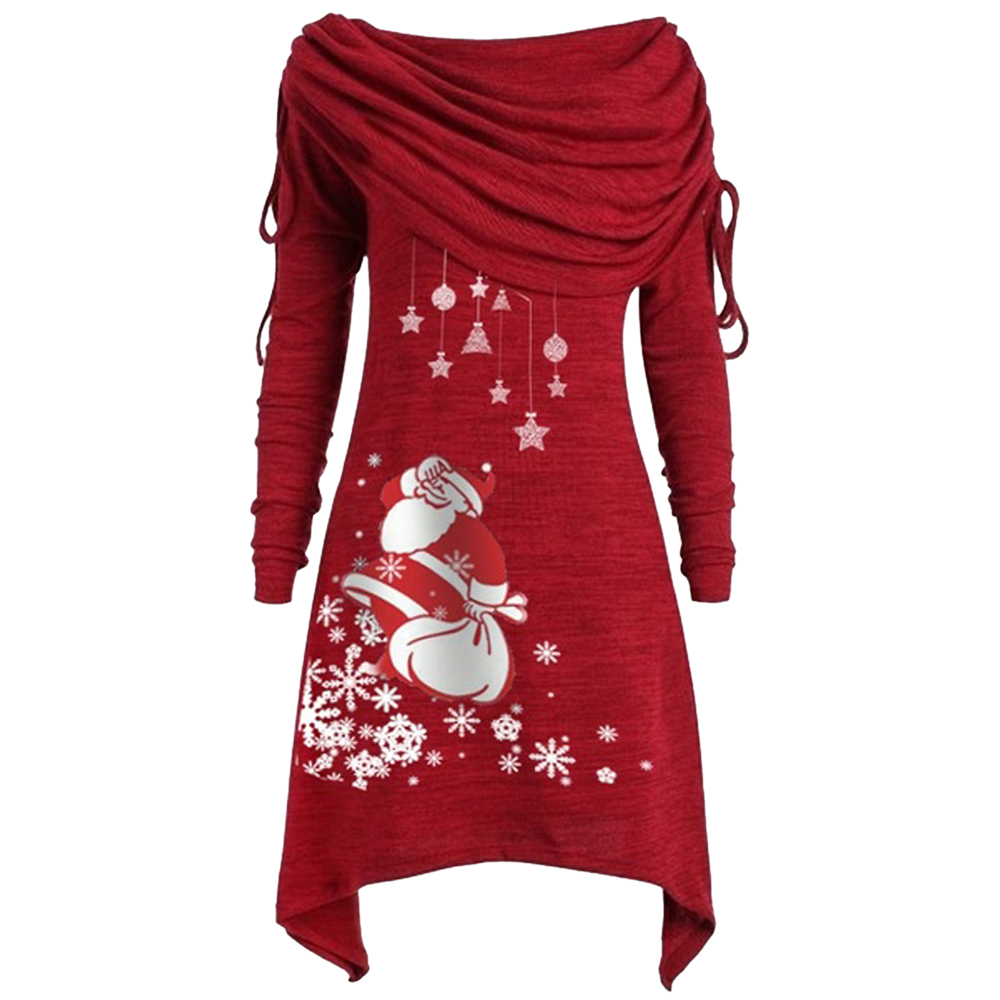 LOOZYKIT 2019 New Arrival Long Sleeve Santa Claus Dress Women Snowflake Print Irregular Dress Top Female Fashion Christmas Dress
