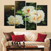Yellow rose flowers 5D Diy Diamond Painting 4 Piece Full Square Round Drill Diamond Embroidery Mosaic Needlework Decor AA2332