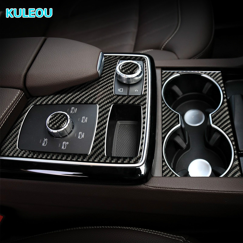 Karbon Fiber merkezi kontrol multimedya uçak çıkartmaları Trim kapaklar LHD RHD için araba Styling Mercedes GLE GLS M sınıf iç