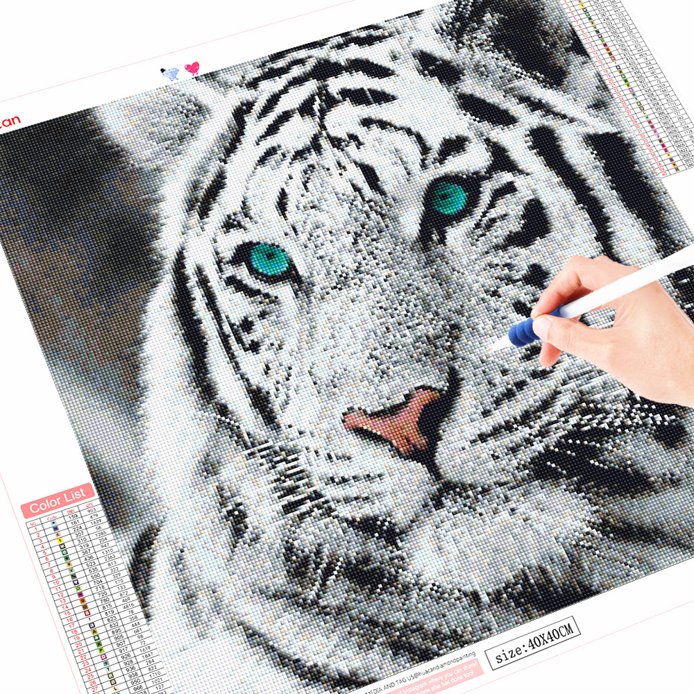 HUACAN Full Square/Round Drill Diamond Embroidery Tiger Mosaic Cross Stitch 5D DIY Diamond Painting Animals Decoration Home