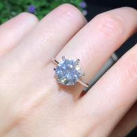 big size crackling moissanite gemstone ring for girl silver jewelry party engagement ring for wedding 925 silver shiny ring