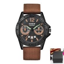1pc / lot Brand Watches Reloj Hombre Mens Fashion Date Quartz Wristwatches Men Nylon Military Army Sports Watch Montre Homme