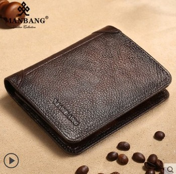 HOT Genuine Leather Men Wallet Small Mini Card Holder Male Wallet Pocket Retro purse High Quality 8