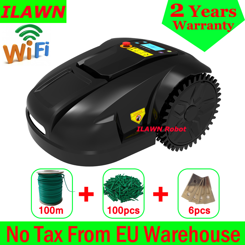 The 6th Generation WiFi App Automatic Lawn Mower Machine E1800T With 6.6ah Lithium Battery+300m Wire+300pcs Pegs+15pcs Blades