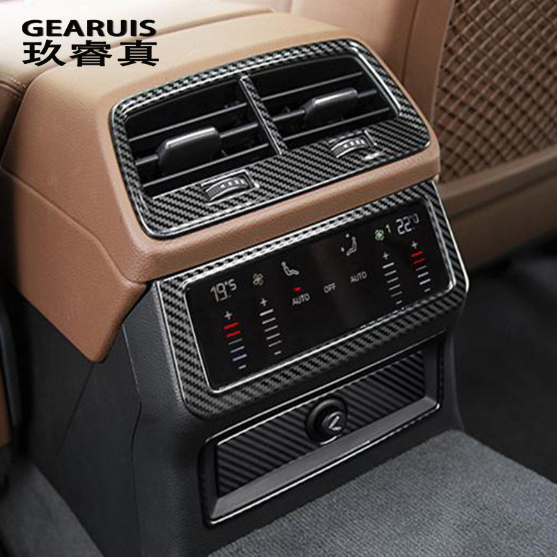 Car Styling Carbon Fiber Back Row Air Conditioning Outlet Panel Buttons Covers Stickers For Audi A6 C8 Interior Auto Accessories