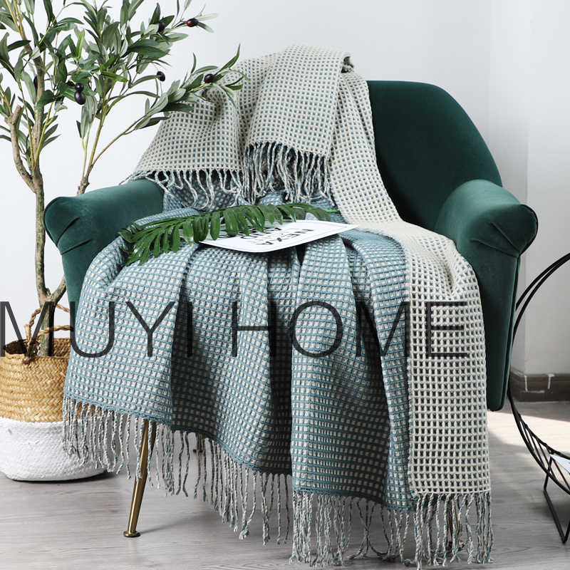 Green 100% Cotton Cable Knit Throw Blanket In Waffle Weave For Soft Sofa, Chair, Beach, Home Decorative Knitted Blanket