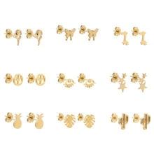 12 para/zestaw minimalistyczny stal nierdzewna zwierząt motyl stadniny kolczyki dla kobiet dziewczyn mała gwiazda serce Evil Eye kolczyki biżuteria