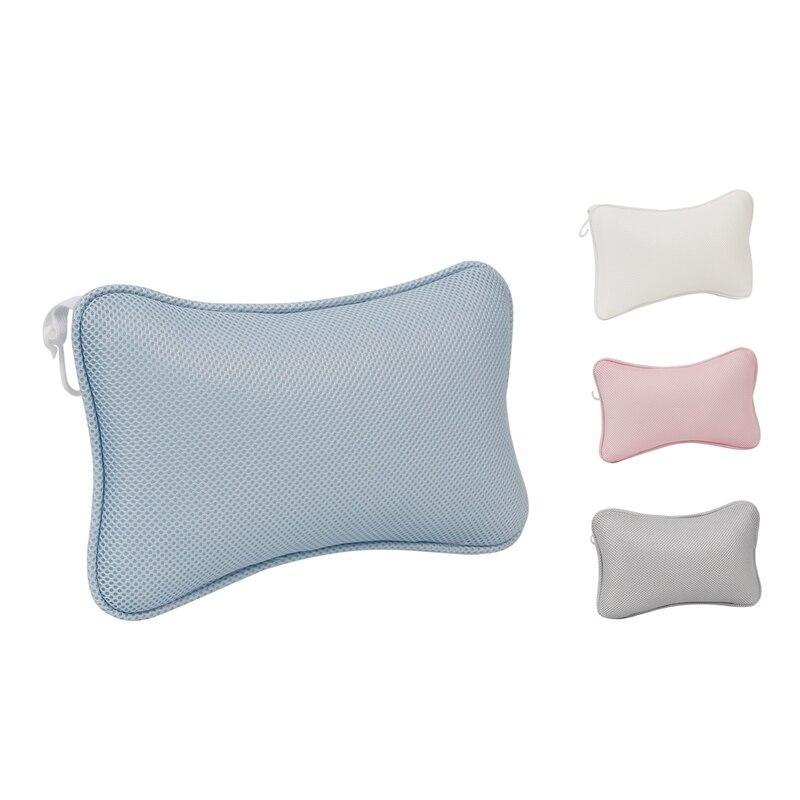 3D Mesh Spa Bathtub Headrest Pillow with Suction Cups Non-Slip Cushion Bath Tub Spa Pillow for Neck Back Bathroom
