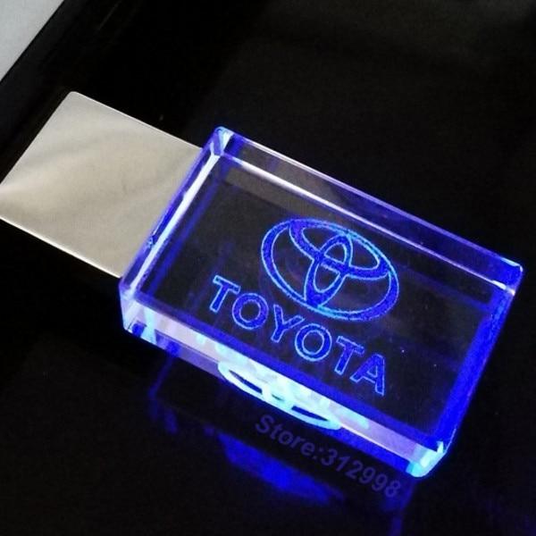 O logotipo de alta velocidade do carro de toyota da movimentação 2.0 do flash de usb de cristal com diodo emissor de luz 4 gb 8 gb 16 gb 32 gb flash disco 128 gb u vara pendrive presente de casamento
