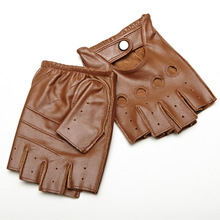 Men Sheepskin Gloves Retro Genuine Leather Fingerless Driving Cycling Motorcycle Unlined Half Finger
